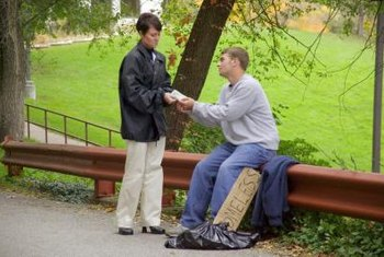 Social workers might help homeless clients obtain food or clothing.
