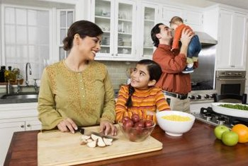 An inviting kitchen encourages the whole family to share in meal preparation.