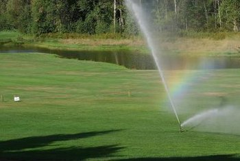Sprinklers should be overlapped for even watering.