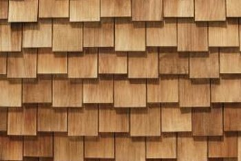 Wooden roof shingles crown a home with color and prestige.