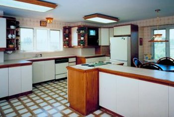 Laminated cupboards are often bright white.