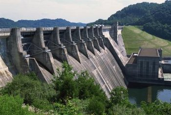 Hydroelectric dams use water to produce electricity.
