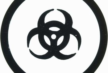 The familiar biohazard symbol is part of the WHMIS labeling standard.