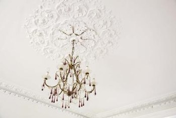 Create a stenciled medallion around your tray ceiling light fixture.