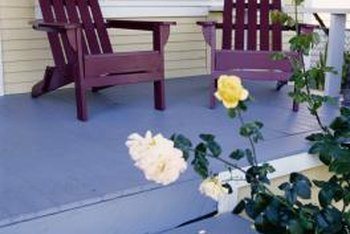 A newly painted wood porch is very inviting.