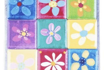 Simple flower shapes printed in bright colors make a striking pattern.