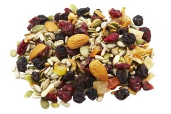 Nutrient-rich trail mix makes an excellent healthy snack.