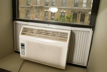 Room air conditioners cool the air in small spaces.