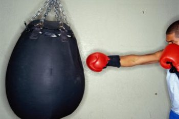Teardrop punching bags come in several different sizes, but are light enough to swing quickly and snap back.