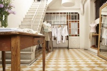 Creating a checkerboard pattern is one of many options you may choose as you design a tile floor layout.