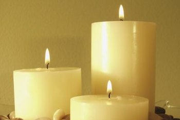 Arrange pillar candles on a metal tray as a safety precaution.