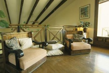 Pine beams add charachter to a room.