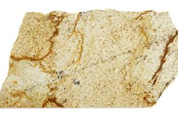 Gold granite with pronounced striations.