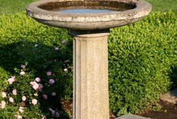A concrete sealer keeps the water from soaking into the birdbath.