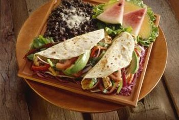 Add lean protein and fresh veggies to a whole-wheat tortilla.