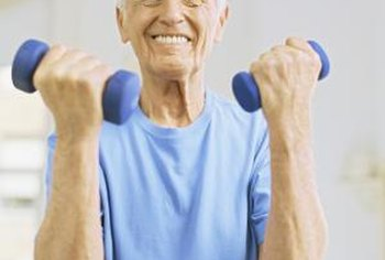 Seated exercises with dumbbells can help strengthen your arms.