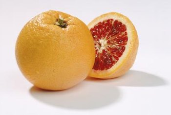 Blood oranges have orange skins but deep red flesh.