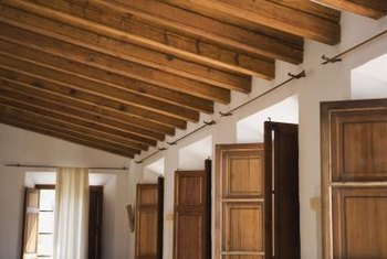 A beamed ceiling adds a rustic feeling to any room.
