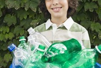 Plastic bottles recycle into carpet, textiles and garden products. (See References 2)