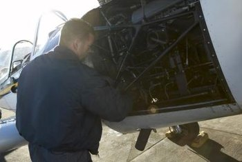Airline mechanics ensure safety for commercial airlines.