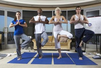 A conference room can double as a yoga studio.