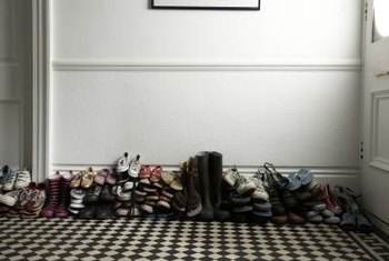 Shoes look less cluttered when stored neatly on shelves.