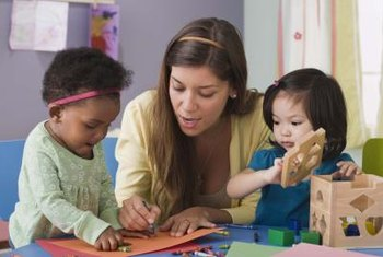 Childcare workers play with and care for children in many different settings.