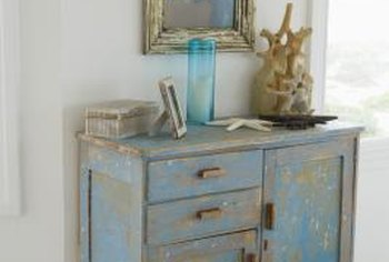 Turn an old chest of drawers into a hard-working kitchen island with a little paint and a few kitchen accessories.