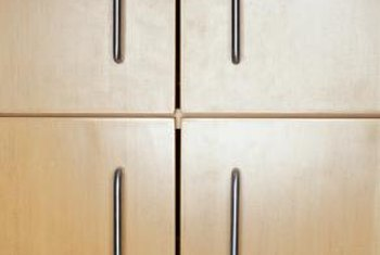 Many inexpensive cabinets are made from veneered plywood.