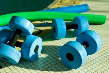 Aquatic dumbbells are inexpensive tools that can greatly enhance strength training in the water.