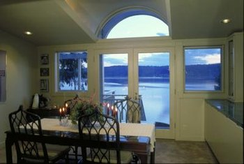 French doors have large panes of glass in the middle