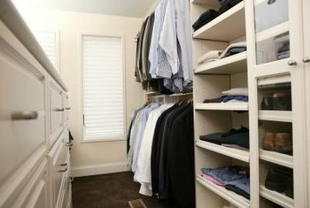 Installing shelves in a closet makes organizing easier.