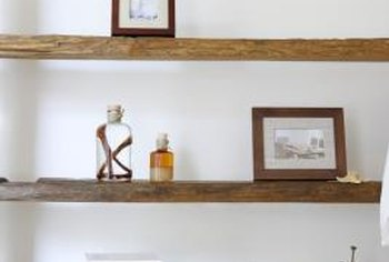 Wooden shelves can have practical as well as aesthetic uses.