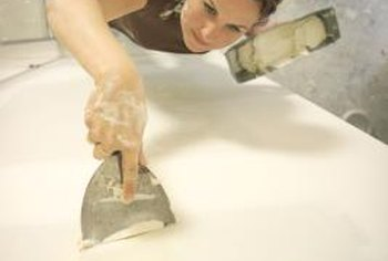 Spackling or joint compound is used to fill holes in drywall.