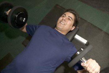 Dumbbell chest presses develop the chest, shoulders and triceps.