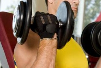 Seated dumbbell biceps curls isolates the biceps muscles.