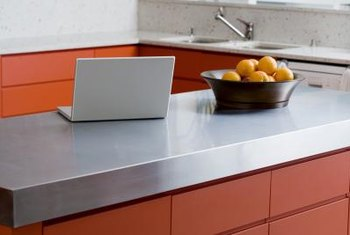 Stainless-steel countertops convey a modern feel.