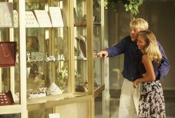 Window displays work as traffic-builders for jewelry stores.