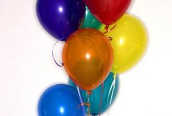 Wire helps balloons stay put in a specific arrangement for a party.