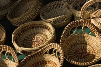 Hand-woven baskets are used for storage and home decor.