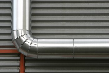 HVAC contractors install and adjust ductwork.