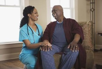 Registered nurses comfort patients.