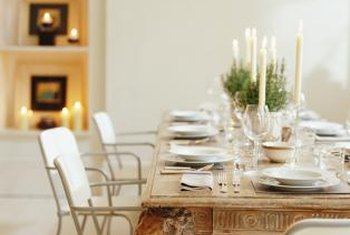 Neutral colors create a soothing atmosphere for a dining table.