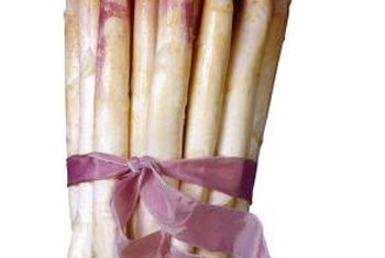 White asparagus develops tender and flavorful spears.