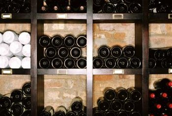 A system of tilted shelves tucked into an alcove lets you store wine at the correct angle.