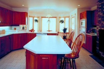 Linoleum floors are used frequently in kitchens and other high foot-travel rooms.