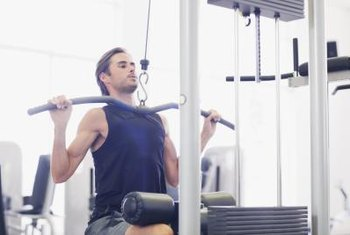 Lat pull downs are an effective upper-back exercise.
