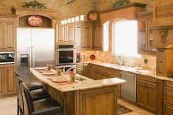 Corbel countertops are utilized as extra space for dining.