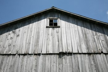 Trademark barn lumber had saw marks and is gray in color.