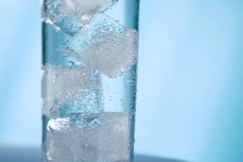 Ice cubes are a solid, and water is a liquid.
